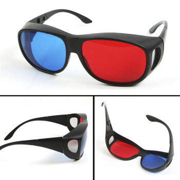Amango Red Blue 3D Glasses Black Frame For Dimensional Anaglyph TV Movie DVD Game