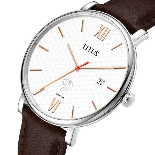 Solvil et Titus Singapore Special Commemorative Edition Unisex Quartz Analogue Watch in Silver White Textured Dial and Brown Leather Strap - Limited Edition 200pcs Available W06-03182-001 Malaysia