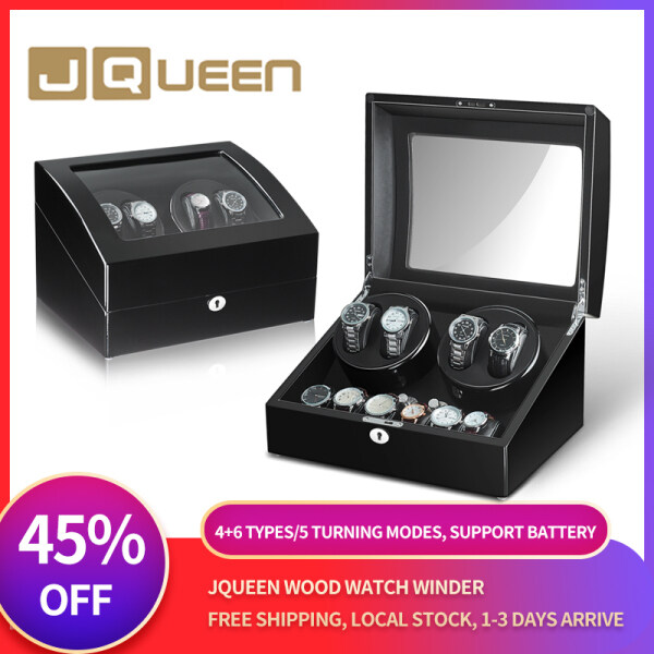 JQUEEN[Local Stock] [Free Shipping]Automatic Watch Winder 4+6 Storage Utral Quite Motor with Lock and Key Black Baking Finish Exterior 5 Modes Malaysia