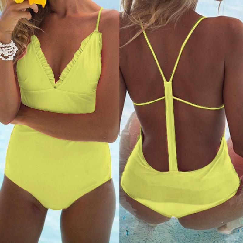 b53c4126533 Women Open Back One Piece Swimsuit Spaghetti Strap Deep V Neck Tankini  Swimwear Playsuit Jumpsuit