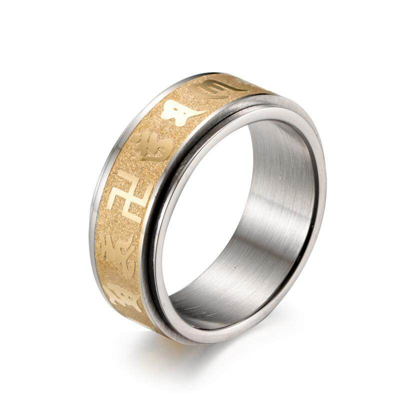 a7c41bfc03918 Fashion Men Titanium Steel Gold Six Words Mantra Rings Male Matte Luck  Fortune Finger Band Ring Jewelry