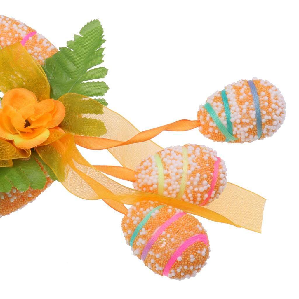 Loviver Happy Easter Spring Bunny Gelang Kaki Belakang Rangkaian Bunga Bundar Pintu Dekorasi Dinding By Loviver.