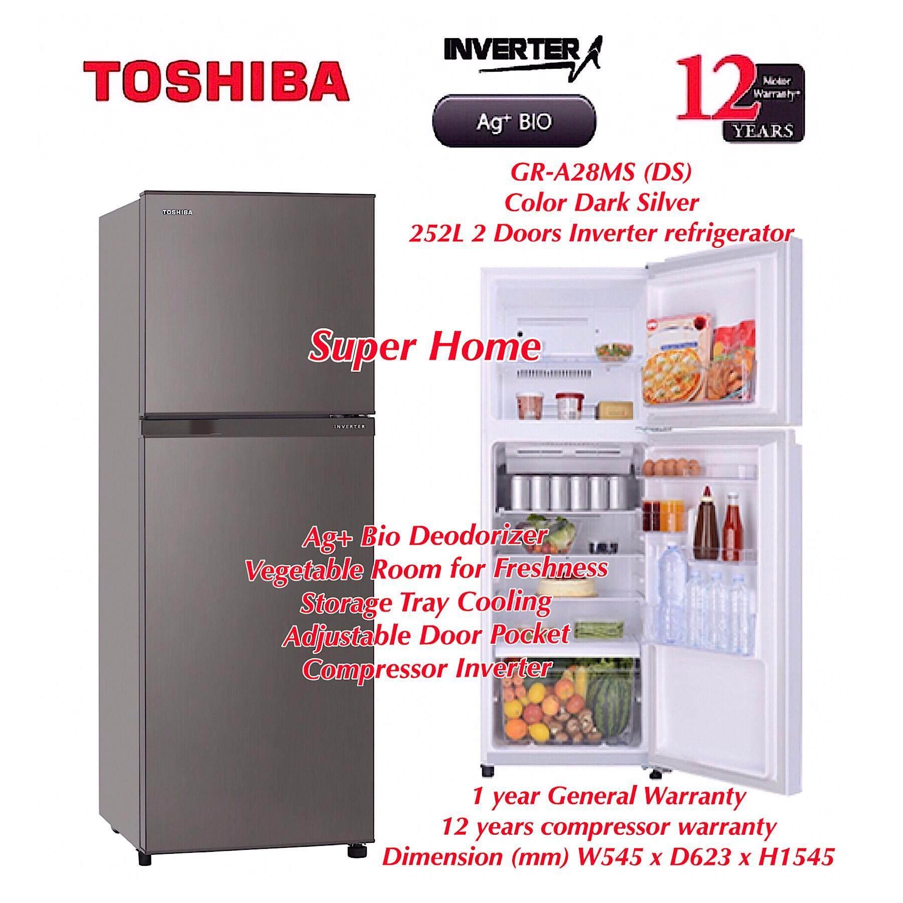 Toshiba 2 Doors Inverter Fridge Refrigerator GR-A28MS (DS) Dark Silver - 252L - Ag+ Bio Deodorizer