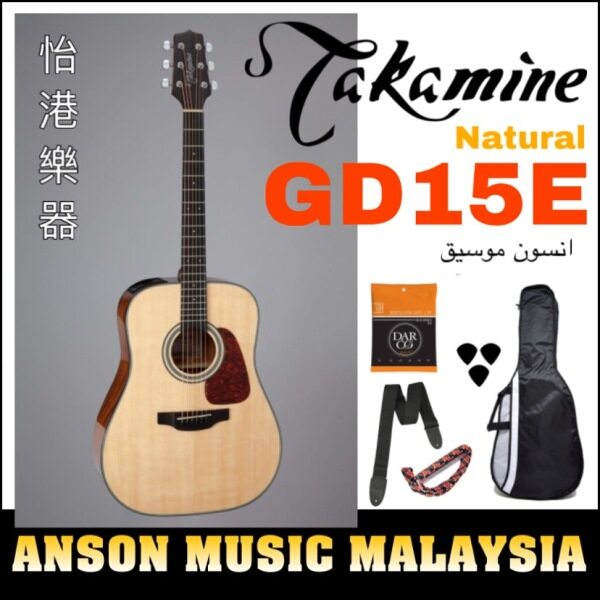 Takamine GD15E Dreadnought Spruce Top Acoustic-Electric Guitar, Natural Malaysia