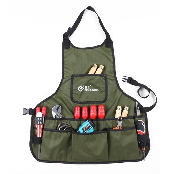 KKmoon Waterproof Canvas Gardening Tool Apron Tools Bag with Pockets Adjustable Size Fits Men and Women