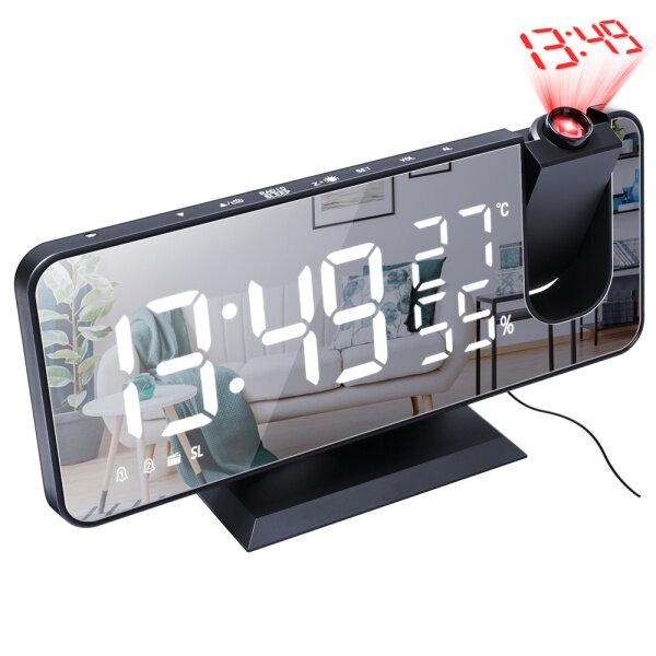 Đồng Hồ Báo Thức Kỹ Thuật Số Để Bàn Điện Tử Có Đèn LED Đồng Hồ Gương Nhiệt Độ Máy Chiếu Đài FM USB Chức Năng Báo Thức Tại Nhà bán chạy
