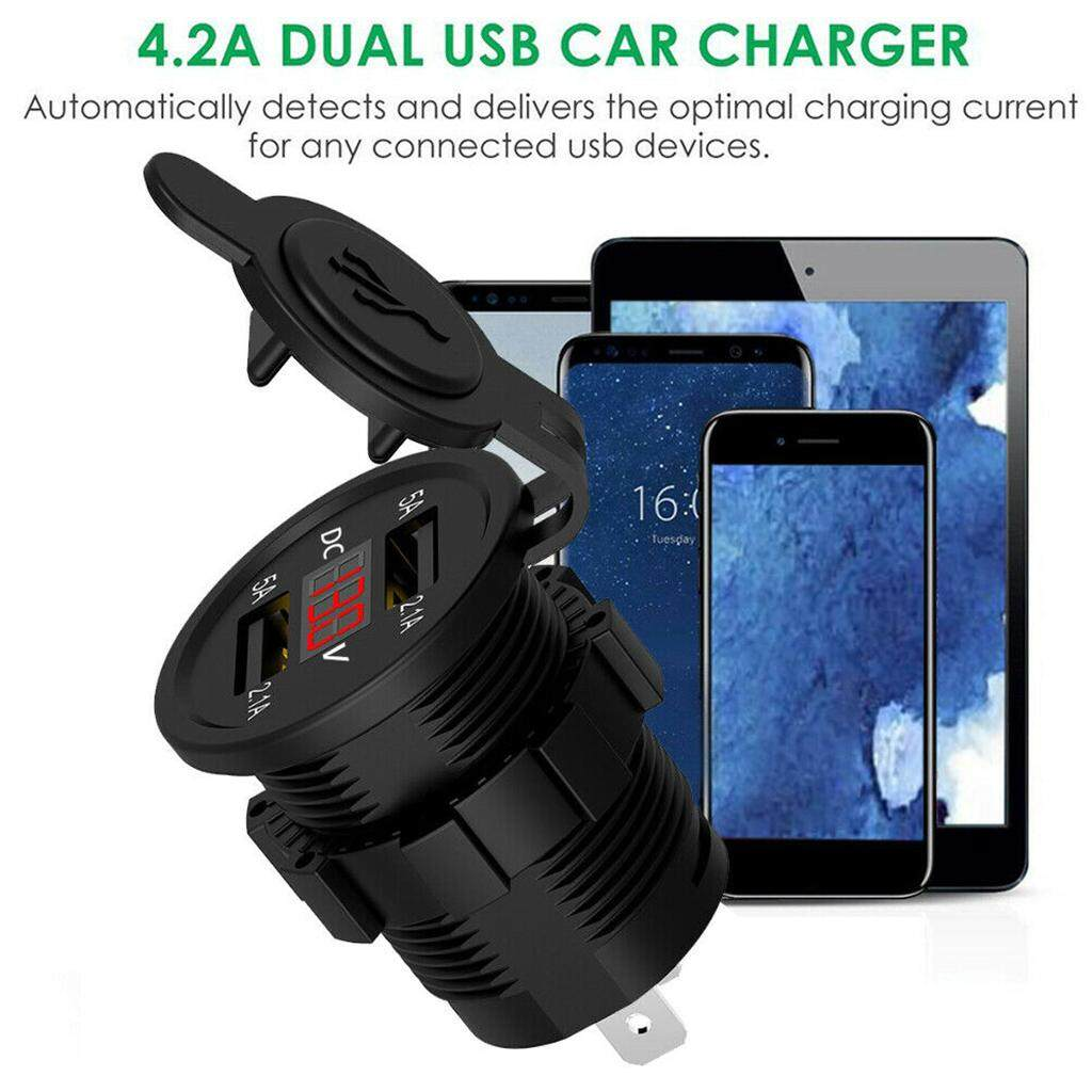 1Pc Blue Car 5V 2.1A Charger W// Voltage Current display USB Ports Socket Adapter