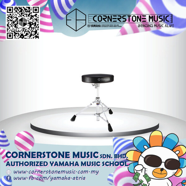 Yamaha ( Digital / Acoustic ) Drum Stool ( Drum Set Chair ) DS550 ( DS-550 / DS 550 )- S & B / Silver with Black Cornerstone Music Malaysia