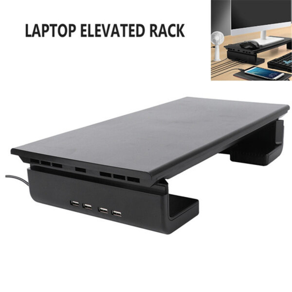 P9YN2 USB 2.0 with USB Charging Computer Base LaptopBase Computer Screen Riser Monitor Stand Holder Bracket Laptop Stand
