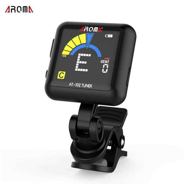 AROMA AT-102 Rechargeable Rotatable Clip-on Electronic Tuner Color Screen with Built-in Battery USB Cable for Chromatic Guitar Bass Ukulele Violin (black) Malaysia