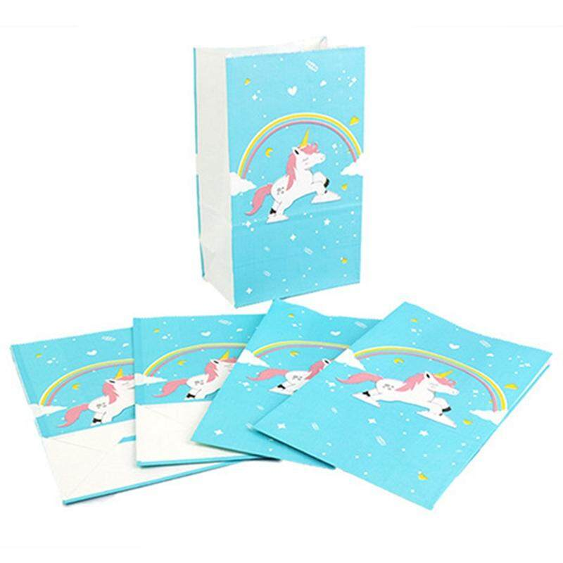 SYS 6pcs Unicorn Paper Bags Gift Candy Wrapping Bags Use for Party Lunch Picnic
