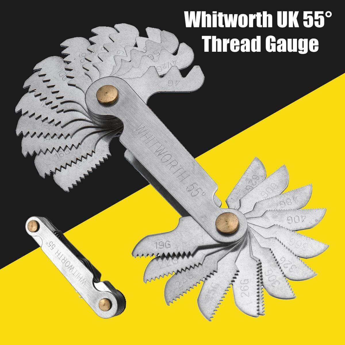 28Pcs Blades Whitworth UK 55 Degree Screw Pitch Thread Measuring Gauge Tool