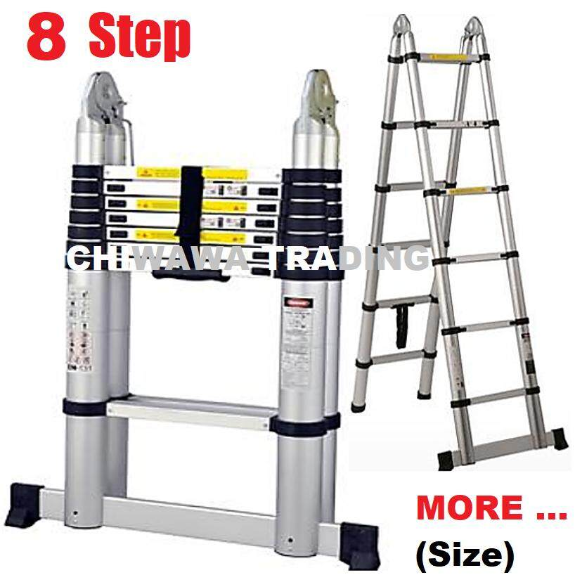6 / 7 / 8 / 9 Steps Extendable Foldable Heavy Duty Hardness Aluminium  Double Sided Telescopic Pole Ladder / Tangga Lipat