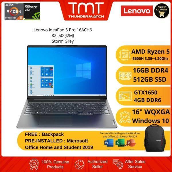 Lenovo IdeaPad 5 Pro 16ACH6 82L500J2MJ Laptop | R5 5600H | 16GB 512GB SSD | 16 WQXGA | GTX1650 | W10 | MS OFFICE + BAG Malaysia