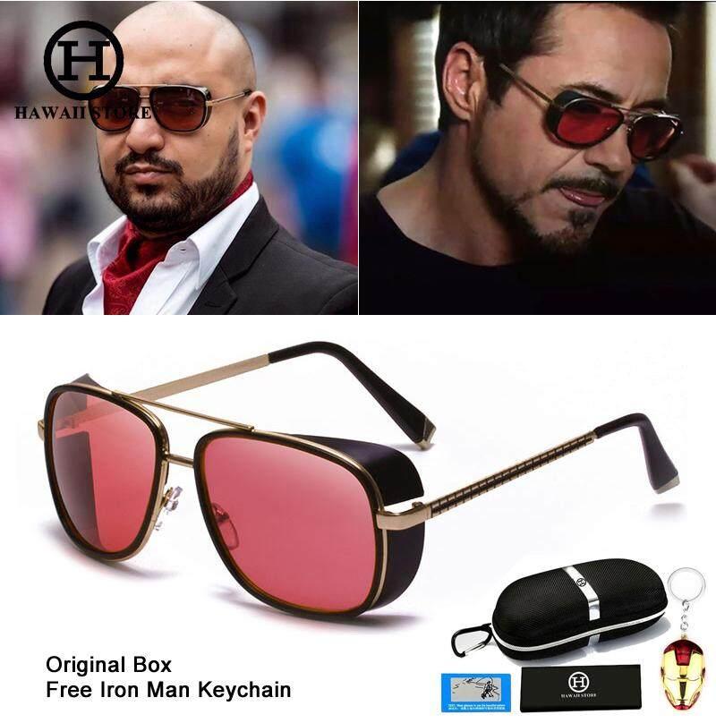 ฮาวายแฟชั่น Iron Man 3 Tony Stark สไตล์แว่นตากันแดดผู้ชายรุ่นเทคโนโลยีย้อนยุค Vintage Classic Punk Sun แว่นตาพร้อมกล่อง.