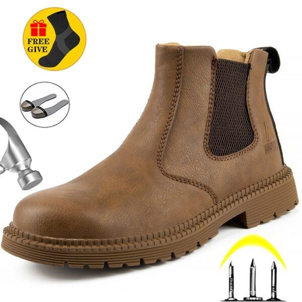 Safety Shoes, High-top Labor Insurance Shoes, Mens Boots, Anti-smashing, Wear-resistant, Non-slip, Waterproof and Oil-resistant Labor Protection Safety Work Safety Shoes