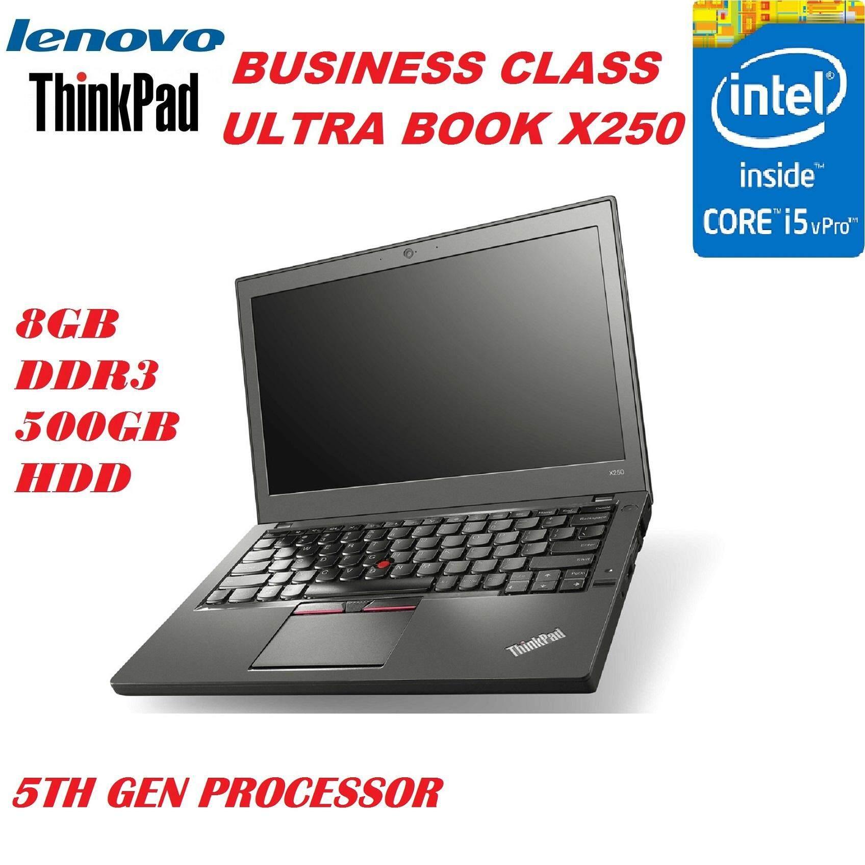 (REFURBISHED)LENOVO THIBNKPAD X250 ULTRABOOK ,INTEL CORE i5 5200U 5TH GEN PROCESSOR/8GB DDR3 RAM/500GB SATA DRIVE ,INTEL HD 5500 GRAPHIC CARD,12.5 LED SCREEN/WIN 8 PRO Malaysia