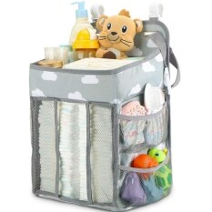 Hanging Foldable Baby Bed Organizer Nursing Storage Bag Holder Diaper Stacker Portable Dual Layer Gift Multi Function Home