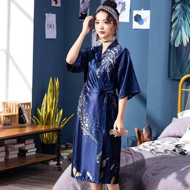 Cưới cô dâu Áo Dây In Thời Trang Sáng Áo Choàng Kimono Satin Bộ Đồ Ngủ Dài Áo Dây Homewear In Hình Cô Dâu Phù Dâu Cưới Áo Choàng