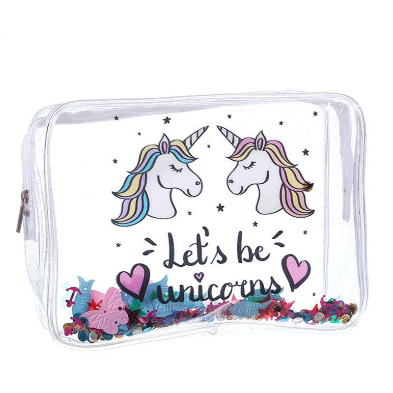 17f19f015e7c75 SYS Portable Clear Makeup Pouch Waterproof PVC Unicorn Cosmetic Bag Travel Toiletry  Bag