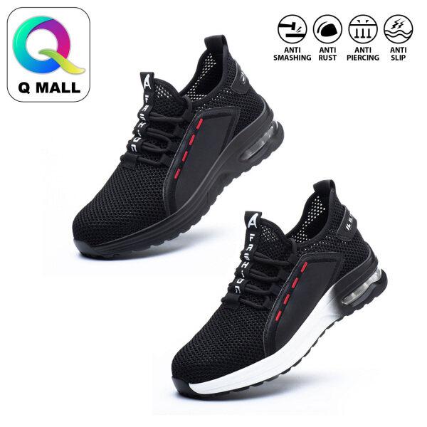 Q MALL Safety Shoes Sport Shoes Wear-Resistant Anti-Smashing Anti-Piercing Safety Protective Shoes -795 BLACK & 796 BLACK WHITE