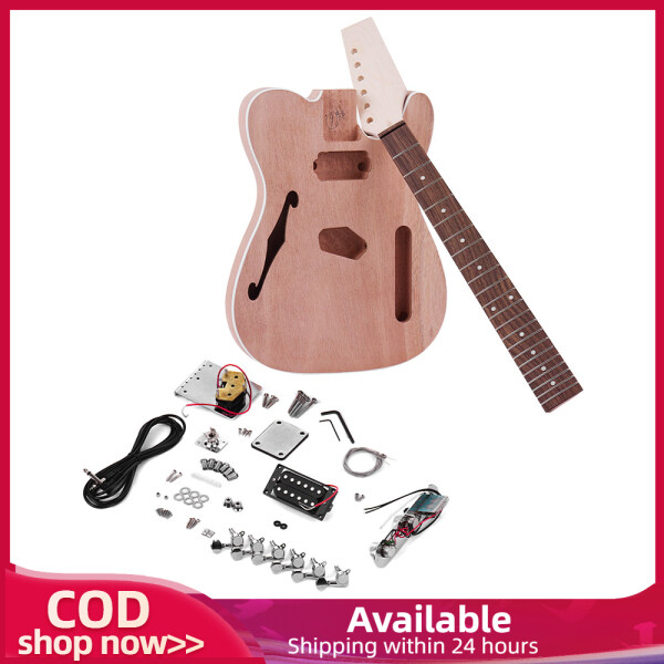 Muslady TL Tele Style Unfinished Electric Guitar DIY Kit Mahogany Body with F Soundhole Maple Wood Neck Rosewood Fingerboard Malaysia
