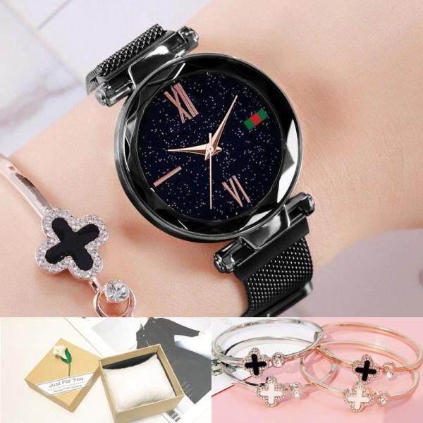 Womens Ladies New Hottest Korean Fashion Brand Quartz Stylish Luxury Flexible Stainless Steel Mesh Strap Lazy Magnet Iron Watches Malaysia