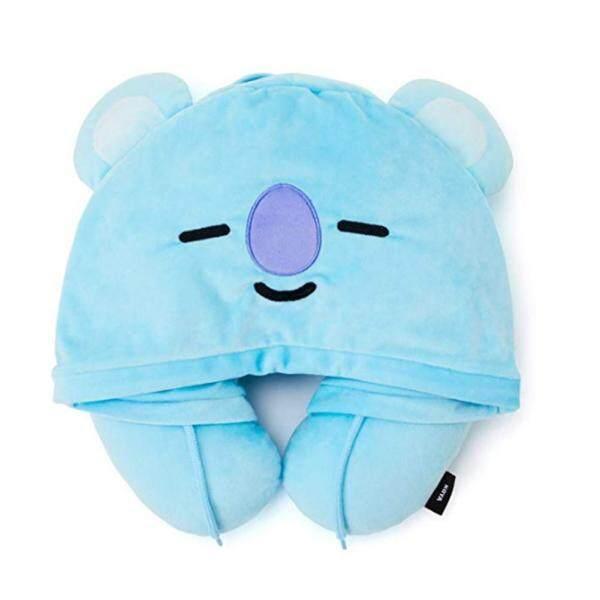 BTS Bulletproof Youth League Cartoon Hooded U-Pillow Travel Neck Pillow BT21 Official Product Line Friend - TATA Character Hooded Travel Neck Pillow
