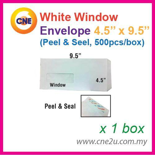 White Envelope 4.5 X 9.5 Peel & Seal With Window (500 Pcs/box) By Cne Stationery.