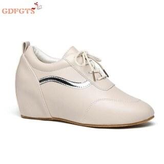Giày Sneaker Nữ Đế Xuồng Da Mũi Tròn Thời Trang, Giày Thể Thao Chạy Bộ Thường Ngày Gót Chân thumbnail