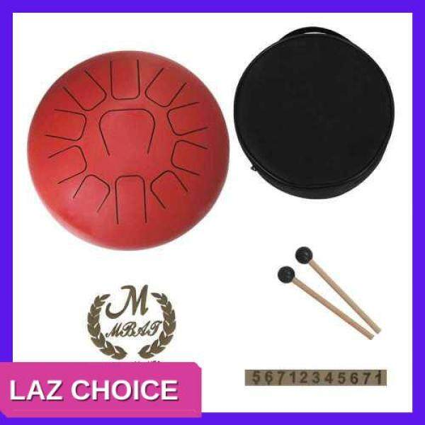 LAZ CHOICE 12 Inch Steel Tongue Drum 11-Tone Hand Pan Drum Stainless Steel Percussion Instrument with Drum Mallets Carry Bags Note Sticks (Red) Malaysia