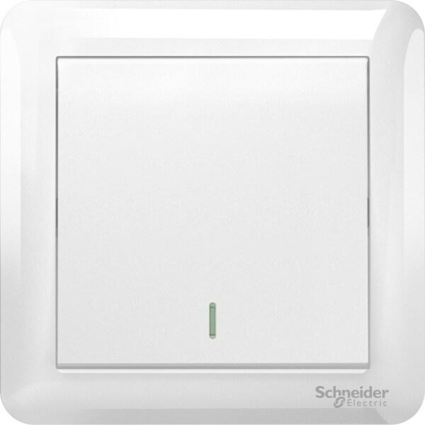 Schneider Electric Affle Plus 10AX 250V 1G Intermediate With Fluorescent Locator Switch, White