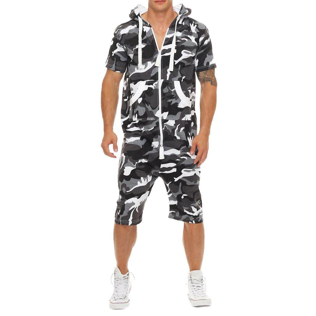 4873b79e4f Bigskyie New Arrival Female Summer Casual Overall Jumpsuits Set Romper Free  Shipping Men's Camouflage Splicing Fashion Pure-Colour Large Size Clothes  ...