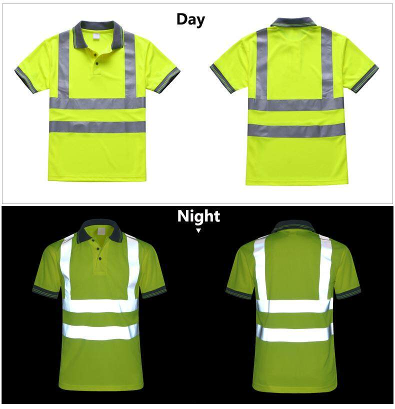 Safety Clothing Reflective High Visibility Workwear Tshirt Short Sleeve Fluorescent Yellow Working Tops Tee Quick Drying