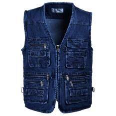 Áo Ghile Denim cá tính cho nam, có nhiều túi, khóa kéo, có cỡ lớn, phong cách quân đội, mặc vào mùa xuân hè – INTL