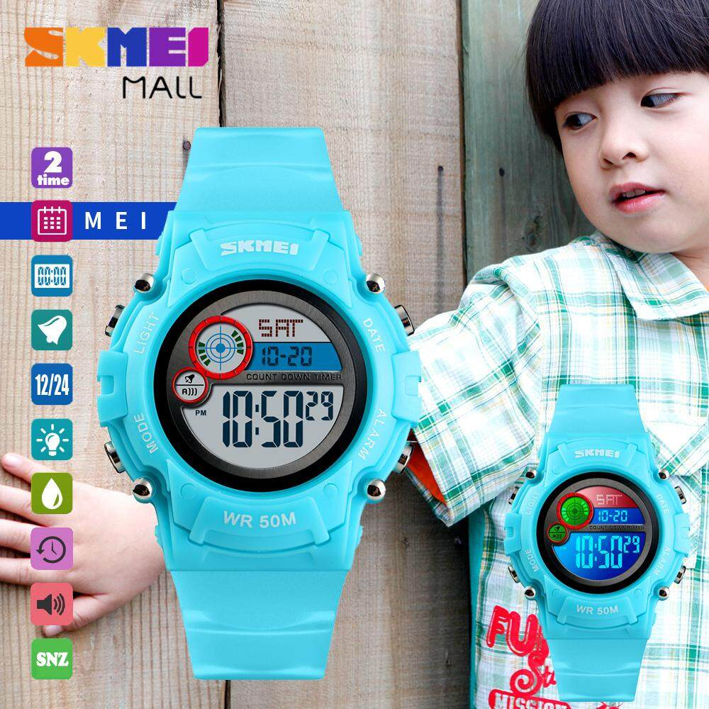 SKMEI Fashion Teen Boys Girls Watch Sport Wristwatch Colorful LED Light Military 5Bar Water Resistant Chronograph Countdown Girl EL Backlight Alarm Snooze Hourly Chime Auto Complete Calendar 1477 Malaysia