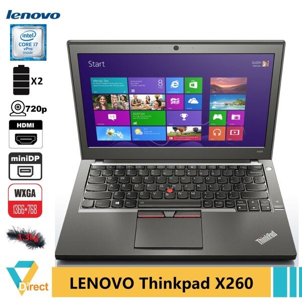 HDMI 1.3kg 2xbatt UP2 32GB RAM 1TB SSD Gen 6 i7 Lenovo Thinkpad X260 ULTRABOOK laptop PC also 8GB 16GB 240GB 480GB fully refurbished notebook computer CPU Malaysia