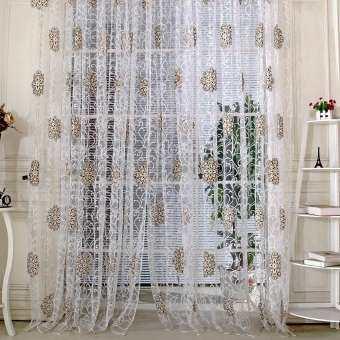 มาใหม่ล่าสุดโปร่งใส Voile ดอกไม้พิมพ์ม่านหน้าต่างห้องนอนประตูม่านโปร่งแสง