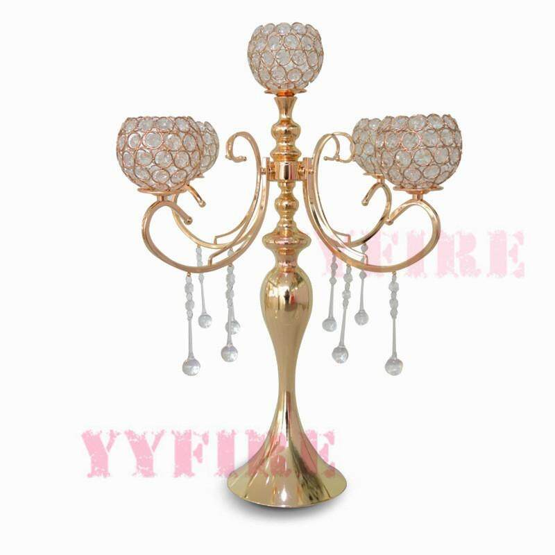 Luxury Gold 5 Arm Tuilp Candelabra Hollow Iron Artistic Retro Candle Holder