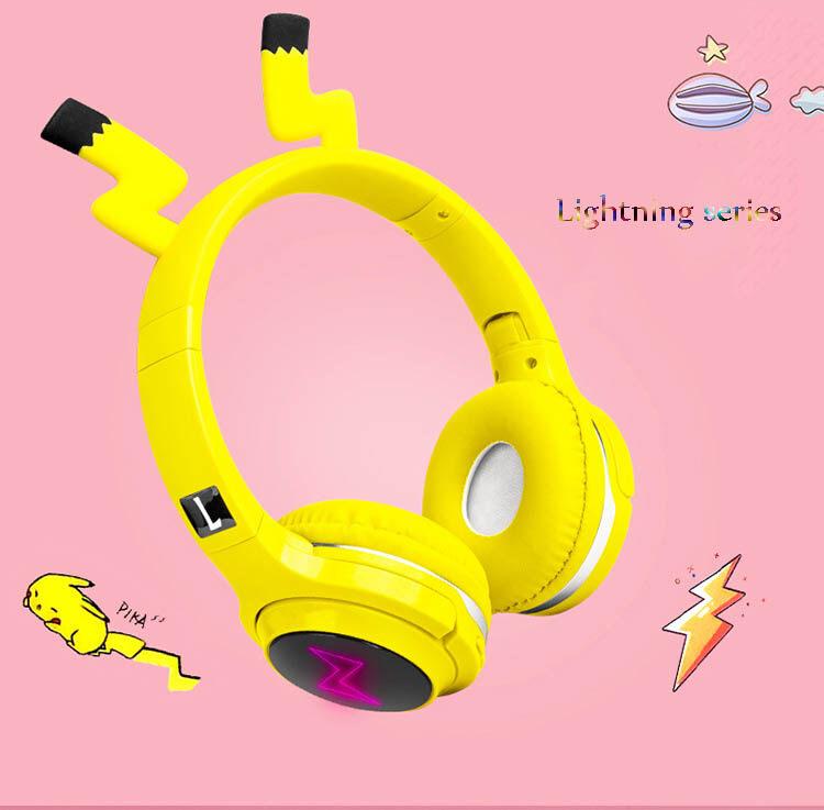 Tai Nghe Anime Bảy Màu Glow Hoạt Hình Dễ Thương Pikachu Bluetooth 5.0 Tai Nghe Có Thể Gập Lại On-Ear Stereo Không Dây Tai Nghe Kèm Micro Đèn LED Hỗ Trợ TF Thẻ/Aux Cho Nam Nữ Máy Tính Bảng Trẻ Em Dải Buộc Đầu Tai Nghe Trong