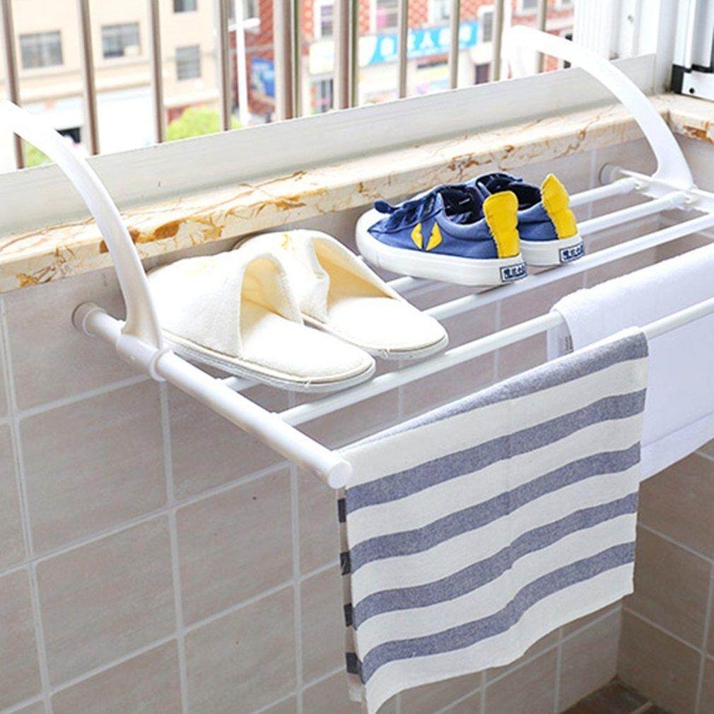 Bathroom Fixtures Fold Collapsible Triangular Wall Mounted Clothes Storage Drying Rack With Hanging Rod For Heavy Duty Bathroom Balcony Laundry Bathroom Shelves