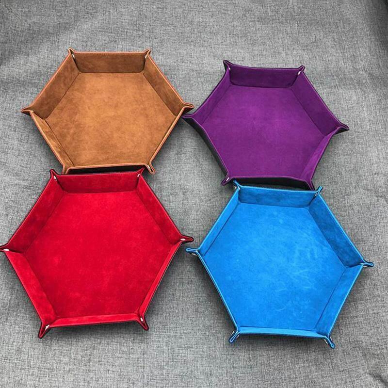 Lipat Segi Enam Baki Dadu Perhiasan Koin Kotak Penyimpanan Kunci Permainan Papan Pu Leather Dapat Dilipat Hexagon Tahan Aus Tahan Air Kotak Penyimpanan Tempat Baki Untuk Polyhedron Logam Dadu Permainan By Oxmart