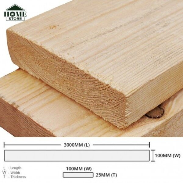 Home Store Pine Wood Timber Rectangular Rough Sawn (RS) 25MM (T) x 100MM (W) x 3000MM (L)