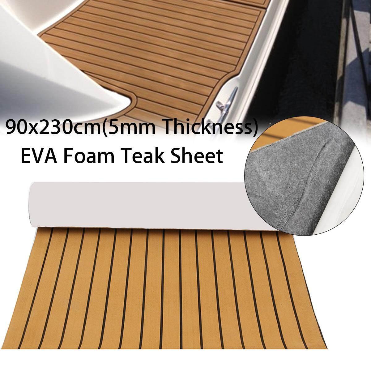【free Pengiriman + Flash Deal】90x230cm Perekat Eva 5 Mm Busa Jati Lembar Perahu Decking Emas Dengan Garis Hitam By Autoleader.