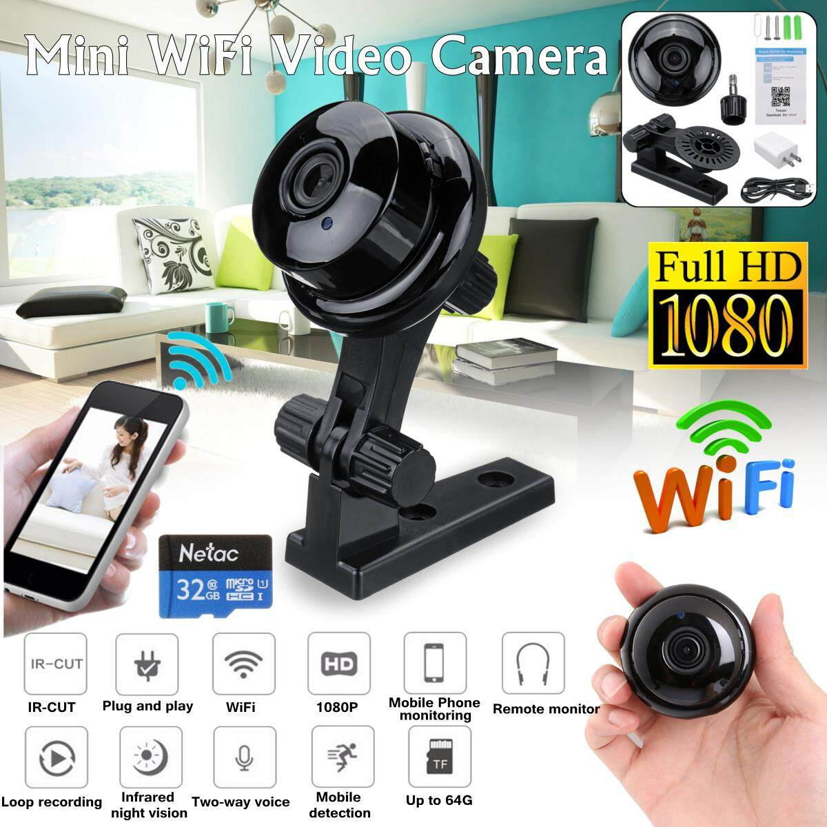 【Free Shipping + Flash Deal】Mini IP H6 Camera Wireless WiFi HD 1080P 120° Hidden Home Security Night Vision
