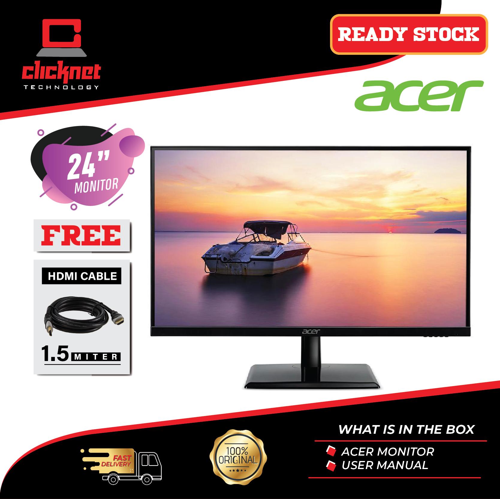 Acer 24-inch Monitor EK241Y IPS Full HD (1920 X 1080) Black (HDMI, VGA Port) Malaysia