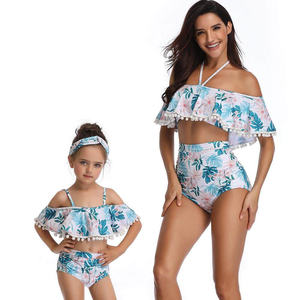 f7d5670f47 Yaababy Mother Daughter Family Matching Swimsuit Pompon Bikini Set Ruffle  Beachwear