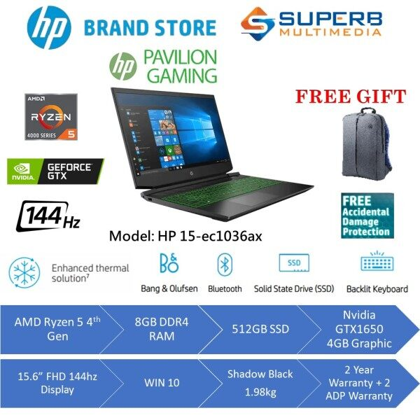 HP Pavilion Gaming - 15-ec1036AX laptop (R5-4600H, 8G RAM, 512GB SSD, GTX1650 4GB, 15.6INCH 144hz, Win10, Black) Malaysia