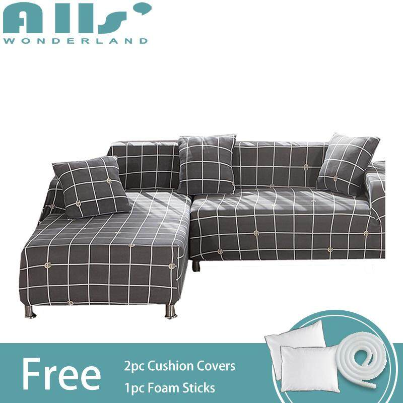【sofa cover】(2pcs)Stretch Sofa Slipcover/Covers for L Shape Sofa Elastic Couch Shield, Furniture Protector(3 seater+3 seater)