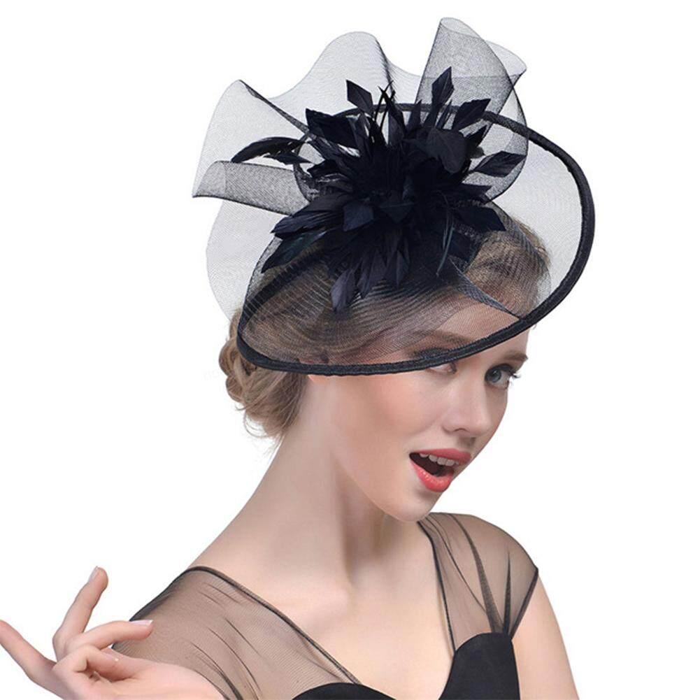 be534fe3 Women Ribbon Fascinator Headbands Tea Party Bridal Gauze Elegant Circular  Hats Hair Clip Wedding Cocktail Feather